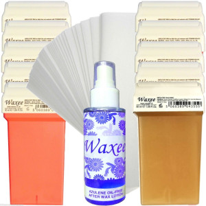 Pack of 10pcs 50ml roll on wax+ 100pcs strips+ after wax oil. PINK or HONEY