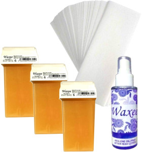 Pack of 3pcs 50ml roll on wax+ 25pcs strips+ after wax oil. PINK or HONEY