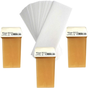 Pack of 3pcs 50ml roll on wax+ 25pcs strips. PINK or HONEY