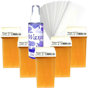 Pack of 5pcs 50ml roll on wax+ 50pcs strips+ after wax oil. PINK or HONEY