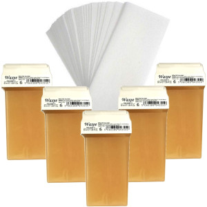 Pack of 5pcs 50ml roll on wax+ 50pcs strips. PINK or HONEY
