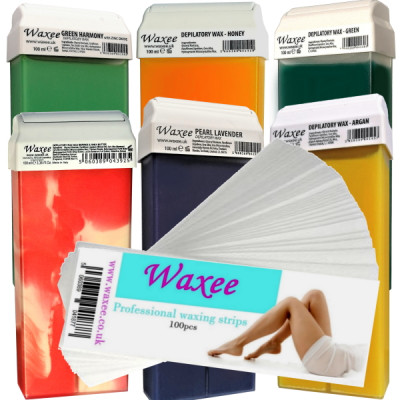 6 x 100ml roll on hair removal wax + waxing strips